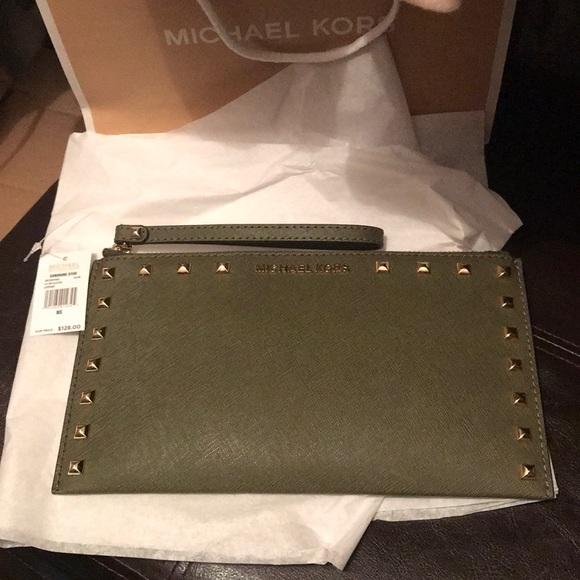 458c7a413ab3 MICHAEL Michael Kors Bags   Michael Kors Sandrine Stud Wristlet ...